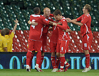 James Collins of Wales celebrates his goal<br /> Wales vs Russia<br /> 2010 World Cup Qualifier, Millennium Stadium, Cardiff, UK<br /> 09/09/2009. Credit Colorsport/Dan Rowley<br /> Football