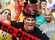 A Belgian fan wearing a red revil hat looks on during the 2014 FIFA World Cup match at Maracana Stadium, Rio de Janeiro, Brazil. <br /> Picture by Andrew Tobin/Focus Images Ltd +44 7710 761829<br /> 22/06/2014