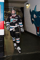 KELOWNA, CANADA - DECEMBER 2: Dillon Dube #19 of Kelowna Rockets exits the ice after warm up against the Kootenay Ice on December 2, 2015 at Prospera Place in Kelowna, British Columbia, Canada.  (Photo by Marissa Baecker/Shoot the Breeze)  *** Local Caption *** Dillon Dube;
