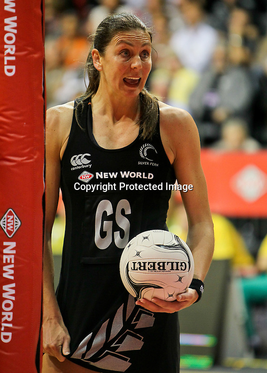New Zealand's Irene Van Dyk confirms a decision with a sideline official during the New World Quad Series - Silver Ferns v Australian Diamonds, 1 November 2012.  Photo:  Bruce Lim / www.photosport.co.nz