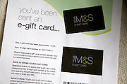 e-gift card for Marks and Spencer online shopping voucher, UK
