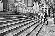 Heading up the steps at the New York Public Library.