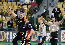 Coach of Flensburg Per Carlen  and players celebrate at   handball quarter final EHF Cup match between RK Celje Pivovarna Lasko and SG Handewitt Flensburg, on April 3, 2010, Dvorana Zlatorog, Celje, Slovenia.  (Photo by Matic Klansek Velej / Sportida)