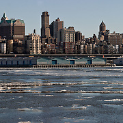 Brooklyn skyline with the East River frozen.