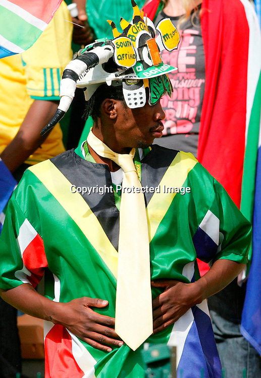 Fans celebrate during the PSL match between Ajax Cape Town and Mamelodi Sundowns at Athlone stadium in Cape Town, South Africa held on the 7 February 2010..Photo by: Ron Gaunt/www.Sportzpics.net