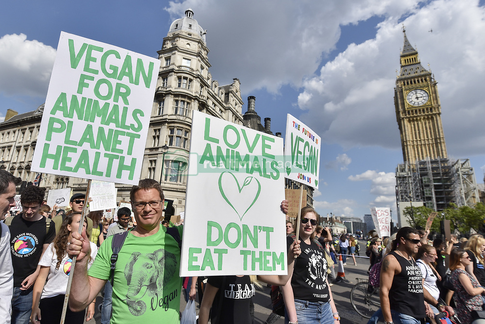 September 2, 2017 - London, UK - Vegans and other demonstrators take part in an Animal Rights march from Hyde Park Corner to Parliament Square demanding an end to animal oppression in order to help the planet. (Credit Image: © Stephen Chung/London News Pictures via ZUMA Wire)