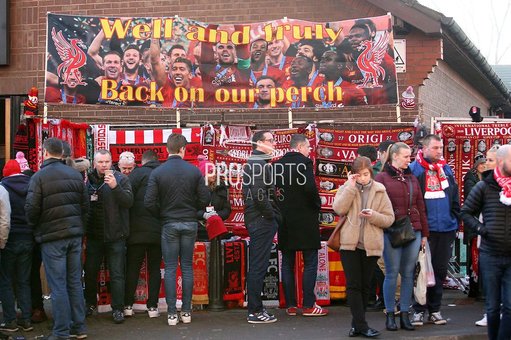 General View of merchandise stall outside Anfield before the Premier League match between Liverpool and Manchester United at Anfield, Liverpool, England on 19 January 2020.