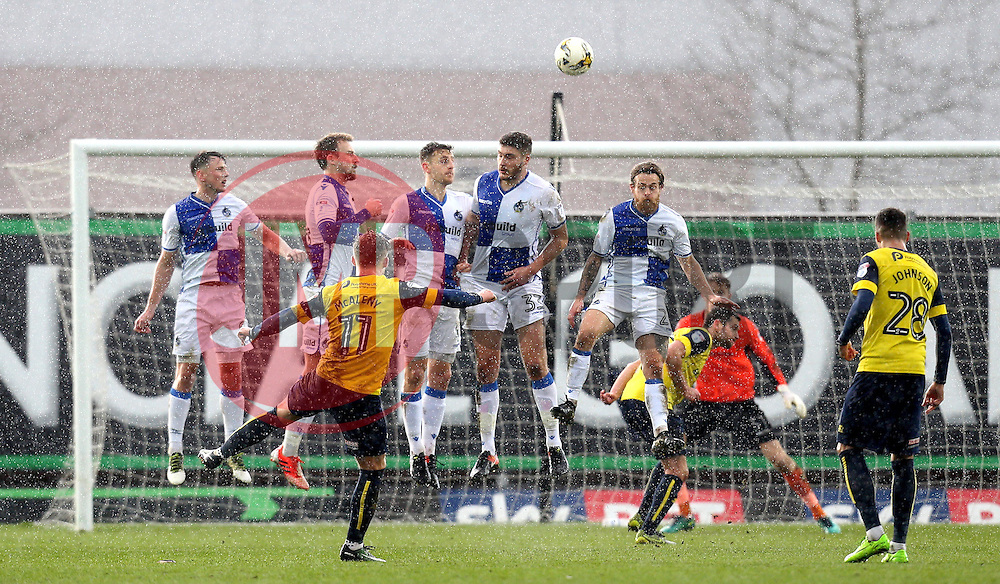 Conor McAleny of Oxford United shoots at goal over the Bristol Rovers wall - Mandatory by-line: Robbie Stephenson/JMP - 04/03/2017 - FOOTBALL - Kassam Stadium - Oxford, England - Oxford United v Bristol Rovers - Sky Bet League One