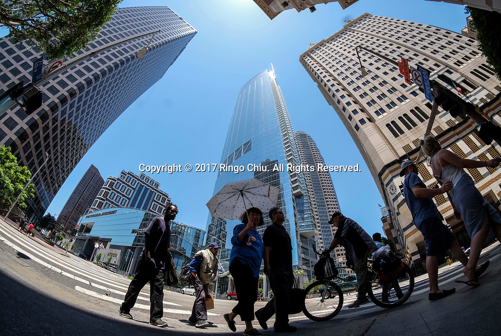 The new Wilshire Grand Center is seen on June 25, 2017, in Los Angeles, the United States. The 73-story, 1,100-foot-high (335.3 meters) structure is the tallest building west of the Mississippi.  (Xinhua/Zhao Hanrong)(Photo by Ringo Chiu)<br /> <br /> Usage Notes: This content is intended for editorial use only. For other uses, additional clearances may be required.