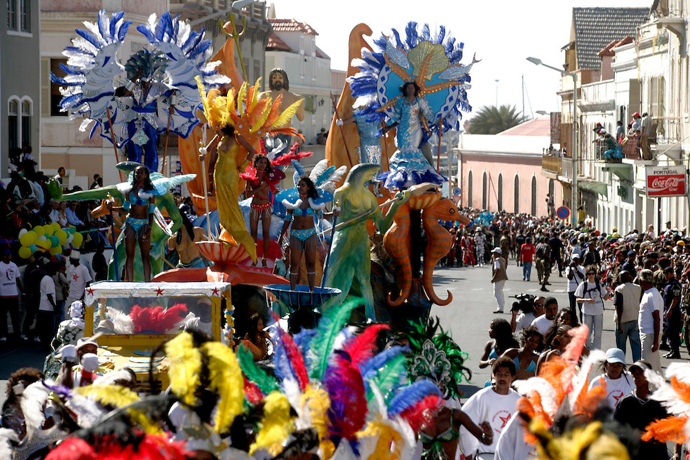 Carnival Parade in Lisboa Street in Mindelo, the capital city od Sao Vicente island.