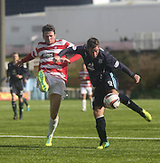 Dundee's Peter MacDonald and Hamilton Academical's Lee Kilday - Hamilton v Dundee, SPFL Championship at <br /> New Douglas Park<br /> <br />  - &copy; David Young - www.davidyoungphoto.co.uk - email: davidyoungphoto@gmail.com