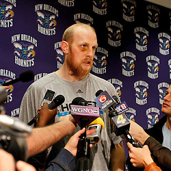 December 17, 2011; New Orleans, LA, USA; New Orleans Hornets center Chris Kaman during a press conference to introduce players acquired from the Los Angeles Clippers in the Chris Paul trade prior to team scrimmage at the New Orleans Arena.   Mandatory Credit: Derick E. Hingle-US PRESSWIRE