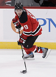 Jan 29, 2010; Newark, NJ, USA; New Jersey Devils left wing Zach Parise (9) skates with the puck during the third period at the Prudential Center. The Devils won 5-4 in overtime.