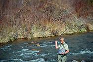 Fly fishing on the Frying Pan River near Basalt, Colorado.