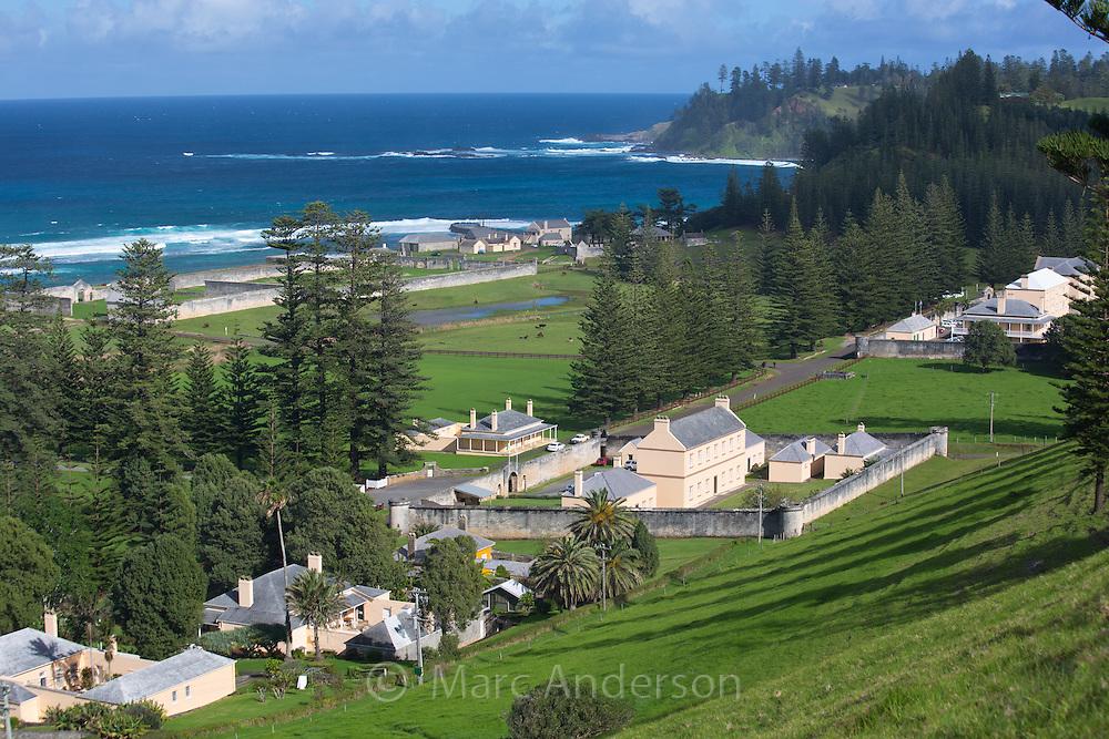 View of Quality Row, Norfolk Island, Australia