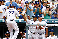 22 August 2009: #27 Matt Kemp scores a home run in the second inning during the MLB National League Chicago Cubs 2-0 loss to the Los Angeles Dodgers at Chavez Ravine. Kemp getting praise from Manager Joe Torre at the dug out.