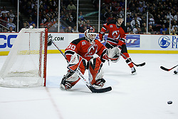 Feb 20, 2007; East Rutherford, NJ, USA; New Jersey Devils goalie Martin Brodeur (30) during the second period at Continental Airlines Arena in East Rutherford, NJ.