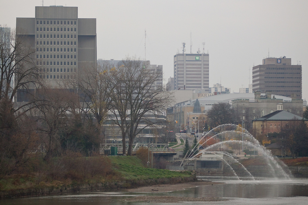 London, Ontario ---11-11-15--- A view of the forks of the Thames River in downtown London, Ontario.<br /> <br /> GEOFF ROBINS Mundo Sport Images