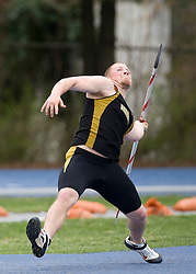 John Thies wins the javelin for Missouri with a throw of 58.67m.  The Virginia Cavaliers men's and women's track and field teams hosted the Missouri Tigers.  The Virginia women defeated Missouri while the Mizzou men defeated UVA on April 5, 2008 at The University of Virginia's Lannigan Field in Charlottesville, VA.