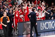 Esultanza panchina Armani Milano, Ax Armani Exchange Olimpia Milano vs Real Madrid, EuroLeague 2017/2018, Milano 13 marzo 2018 Mediolanum Forum FOTO: Bertani/Ciamillo