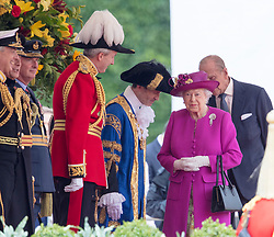 LONDON - UK- 12th July 2017:  <br /> The arrival ceremony of HM The King and Queen of Spain in London. King Felipe and Queen Letizia arrive for the official arrival ceremony on Horseguards in London and greeted by HM Queen Elizabeth and HRH The Duke of Edinburgh<br /> Photo by Ian Jones