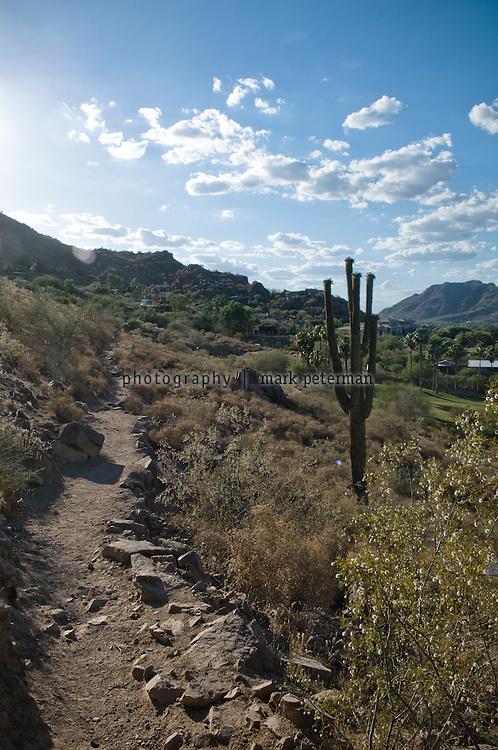 Hiking Camelback Mountain in Paradise Vallery, Arizona.