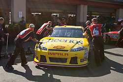 June 25, 2011; Sonoma, CA, USA;  Crew members push the car of NASCAR Sprint Cup Series driver Clint Bowyer (not pictured) into the garage during practice for the Toyota/Save Mart 350 at Infineon Raceway.