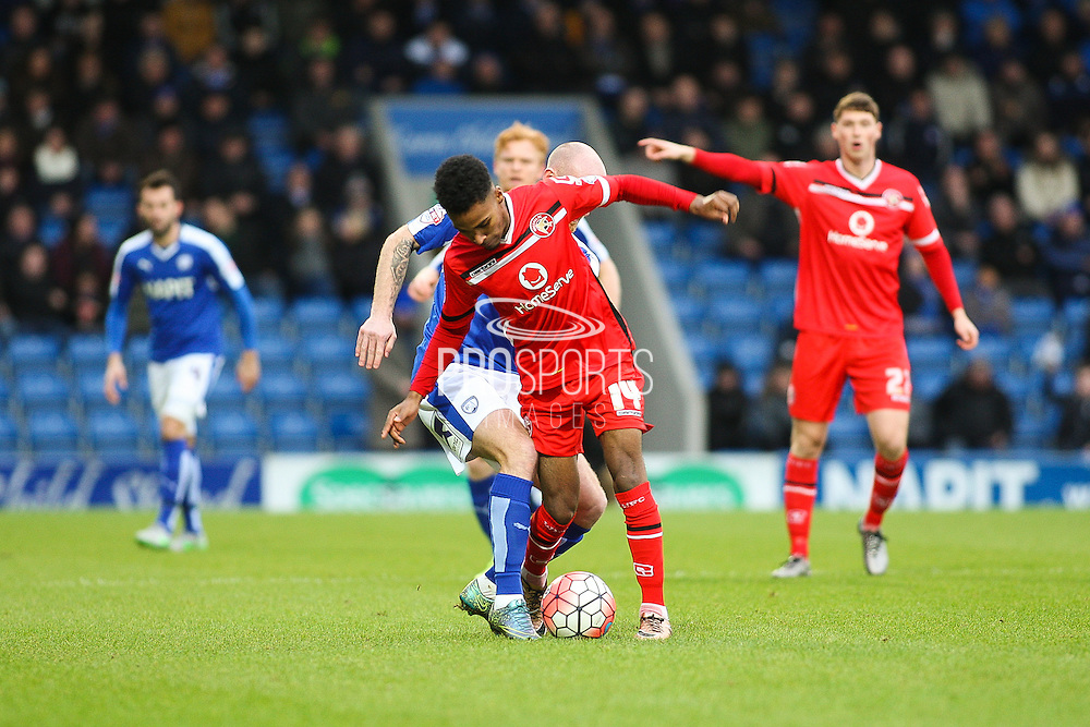 Walsall FC's Rico Henry on the ball during the The FA Cup match between Chesterfield and Walsall at the Proact stadium, Chesterfield, England on 5 December 2015. Photo by Aaron Lupton.