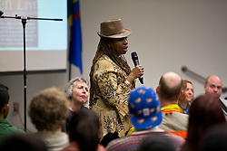 Melannie Cunningham speaking during the forum discussion of issues surrounding deaths of African-Americans by police and is sponsored by the Diversity Center, Women's Center and CCES held in the Scandinavian Center at PLU on Thursday, Dec. 4, 2014. (PLU Photo/John Froschauer)