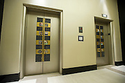 Elevators with the restored original tile on the first floor of the new Continental apartment building in Dallas on Tuesday, March 12, 2013. (Cooper Neill/The Dallas Morning News)