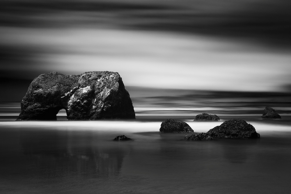 Arch Rock - Long Exposure - Bruhel Point - Westport, CA - Infrared Black & White