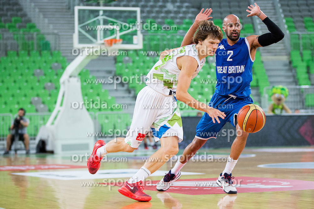 Jaka Klobucar of Slovenia during friendly basketball match between National teams of Slovenia and G. Britain, on August 20, 2016 in Arena Stozice, Ljubljana, Slovenia. Photo by Urban Urbanc / Sportida