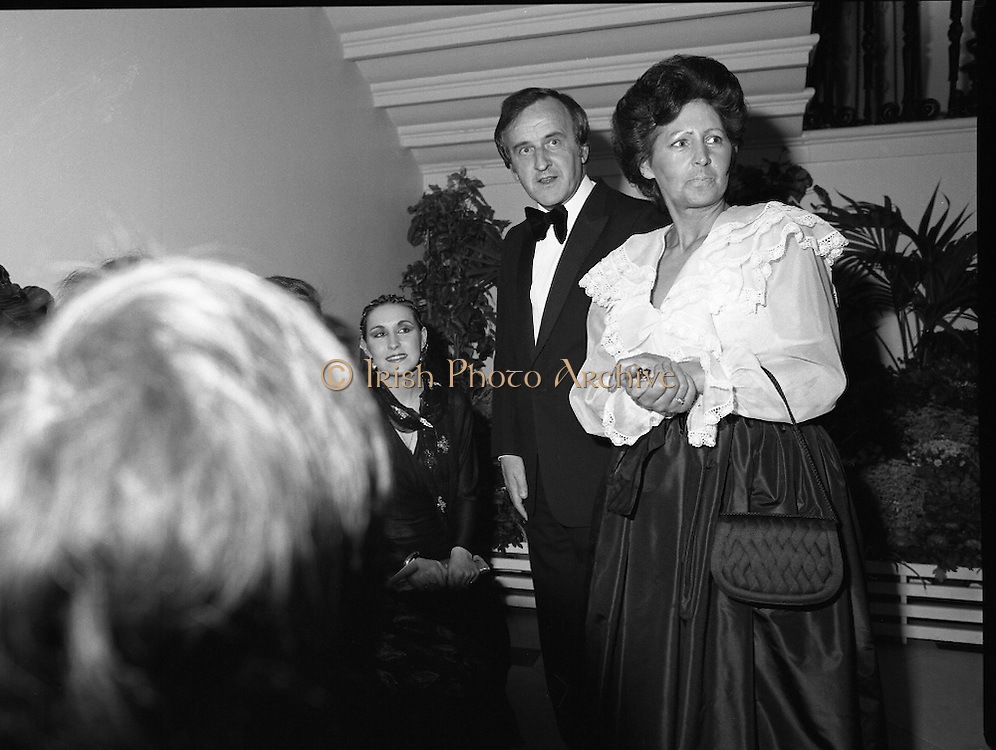 "Reception For ""Sheba"" Ireland's Eurovision Entrants..1981..01.04.1981..04.01.1981..1st April 1981..The Minister for Posts and Telegraphs,Mr Albert Reynolds TD,held a reception in the State Apartments,Dublin Castle on the occasion of the Grand Prix of the Eurovision Song Contest 1981. The contest was being held in Ireland after Johnny Logans win at the Hague in 1980. Ireland's representatives this year are ""Sheba"" singing  ""Horoscopes""...The Minister,Albert Reynolds,and his wife Kathleen are pictured with ""Sheba"" at the Eurovision Reception in Dublin Castle."