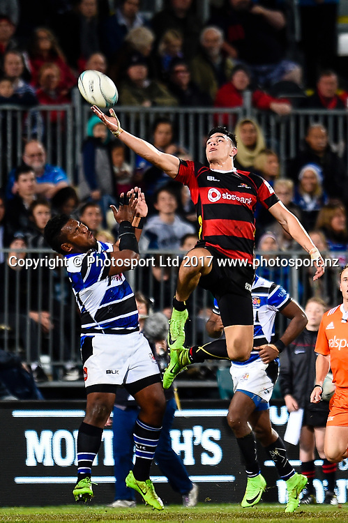 Ngane Punivai of Canterbury tries to get a high ball from Ranato Tikoisolomone of Wanganui during the Ranfurly Shield Rugby Match, Canterbury V Wanganui, AMI Stadium, Christchurch, New Zealand, 10th June 2017.Copyright photo: John Davidson / www.photosport.nz
