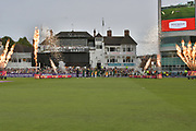 The players take to the field during the NatWest T20 Blast Quarter Final match between Notts Outlaws and Somerset County Cricket Club at Trent Bridge, West Bridgford, United Kingdom on 24 August 2017. Photo by Simon Trafford.