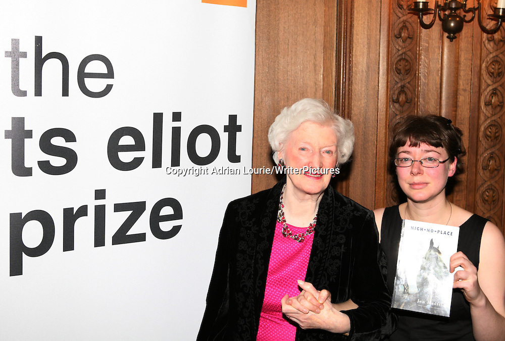 Jen Hadfield, winner of the TS Eliot Prize for Poetry, present in London 120109 pictured with Mrs. TS Eliot<br /> <br /> copyright Adrian Lourie/Writer Pictures<br /> contact +44 (0)20 822 41564<br /> info@writerpictures.com<br /> www.writerpictures.com