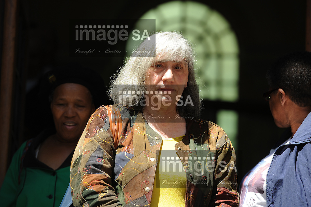CAPE TOWN, SOUTH AFRICA - Tuesday 14 October 2014, Maria Bravetti, a black-market currency converter, outside court after testifying during Day 5 of the Shrien Dewani trial at the Western Cape High Court before Judge Jeanette Traverso. Dewani is caused of hiring hit men to murder his wife, Anni. Anni Ninna Dewani (n&eacute;e Hindocha; 12 March 1982 &ndash; 13 November 2010) was a Swedish woman who, while on her honeymoon in South Africa, was kidnapped and then murdered in Gugulethu township near Cape Town on 13 November 2010 (wikipedia).<br /> Photo by Roger Sedres