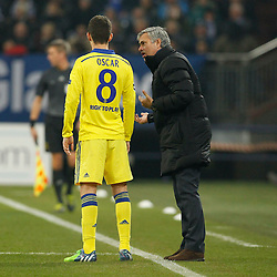 "25.11.2014, Veltins Arena, Gelsenkirchen, GER, UEFA Euro Qualifikation, Schalke 04 vs FC Chelsea, Gruppe G, im Bild Headcoach Jose ""the special one"" Mourinho (FC Chelsea) talking to Oscar (FC Chelsea #8) // during the UEFA Champions League group G match between Schalke 04 and Chelsea FC at the Veltins Arena in Gelsenkirchen, Germany on 2014/11/25. EXPA Pictures © 2014, PhotoCredit: EXPA/ Eibner-Pressefoto/ Schueler<br /> <br /> *****ATTENTION - OUT of GER*****"