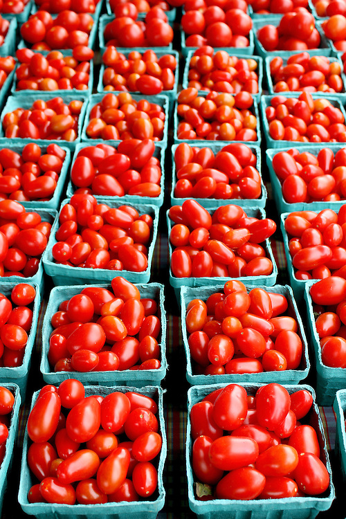 Fresh organic cherry tomatoes background, photo taken at local farmers market, in New York City