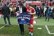 Middlesbrough Manager Aitor Karanka  and Middlesbrough midfielder Grant Leadbitter (7)  lead the celebrations on promotion during the Sky Bet Championship match between Middlesbrough and Brighton and Hove Albion at the Riverside Stadium, Middlesbrough, England on 7 May 2016. Photo by Simon Davies.
