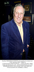 Author FREDERICK FORSYTH at a party in London on 17th January 2001.OKM 14