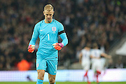 England Goalkeeper Joe Hart  celebrates England Forward Daniel Sturridge goal 1-0 during the FIFA World Cup Qualifier group stage match between England and Scotland at Wembley Stadium, London, England on 11 November 2016. Photo by Phil Duncan.