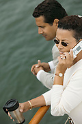 Woman Talking on Cell Phone on Boat