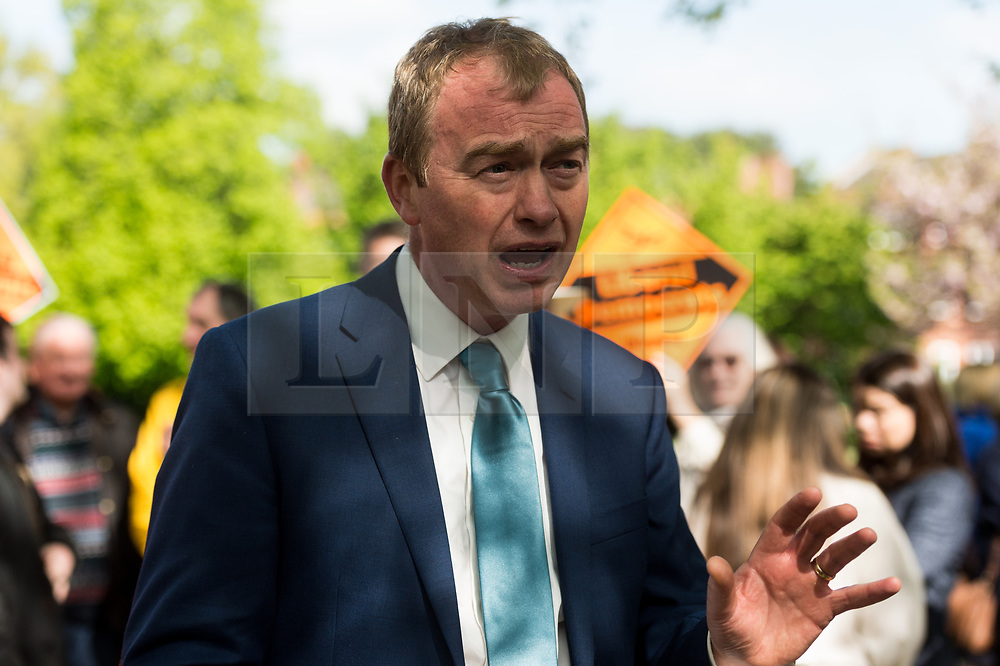 © Licensed to London News Pictures. 19/04/2017. London, UK. Liberal Democrat leader TIM FARROW speaks to the media at a rally in Richmond in response the announcement of the General Election on June 8th 2017. Photo credit: Ray Tang/LNP