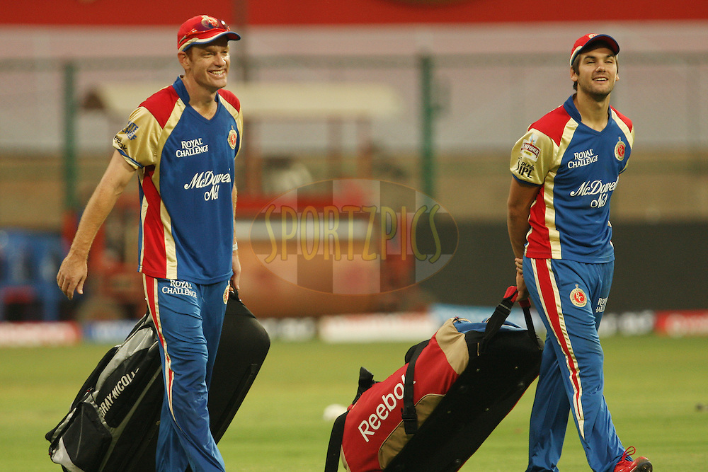 Andrew McDonald and Rilee Rossouw during Royal Challengers Bangalore practice session and press conference held at the M. Chinnaswamy Stadium, Bengaluru on the 9th April 2012..Photo by Jacques Rossouw/IPL/SPORTZPICS