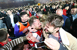 Jake Taylor of Exeter City is mobbed by Exeter fans - Mandatory by-line: Gary Day/JMP - 18/05/2017 - FOOTBALL - St James Park - Exeter, England - Exeter City v Carlisle United - Sky Bet League Two Play-off Semi-Final 2nd Leg
