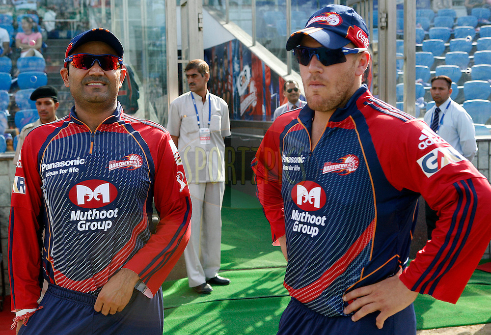 Delhi Daredevils captain Virender Sehwag (L) during match 19 of the Indian Premier League ( IPL ) Season 4 between the Delhi Daredevils and the Deccan Chargers held at the Feroz Shah Kotla Stadium in Delhi, India on the 19th April 2011..Photo by Money Sharma/BCCI/SPORTZPICS.