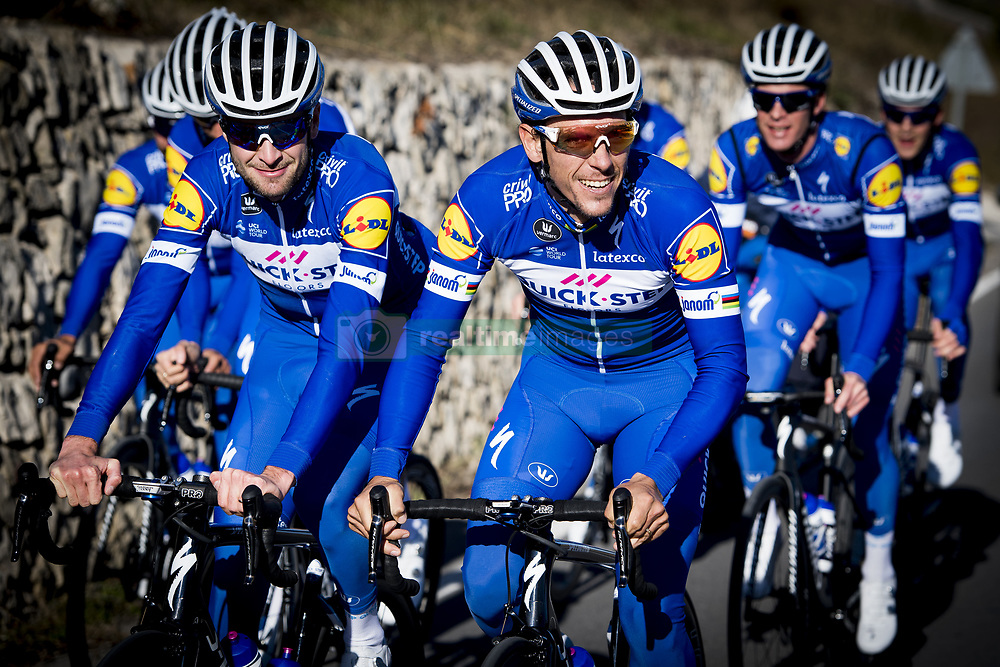 January 9, 2018 - Calpe, SPAIN - Belgian Pieter Serry of Quick-Step Floors and Belgian Philippe Gilbert of Quick-Step Floors pictured in action during a training session of Belgian cycling team Quick-Step Floors, in Calpe, Spain, Tuesday 09 January 2018. BELGA PHOTO JASPER JACOBS (Credit Image: © Jasper Jacobs/Belga via ZUMA Press)