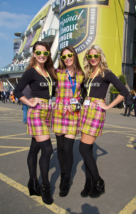LIVERPOOL, ENGLAND - Thursday, April 9, 2015: Crabbies promotional girls during Grand Opening Day on Day One of the Aintree Grand National Festival at Aintree Racecourse. (Pic by David Rawcliffe/Propaganda)
