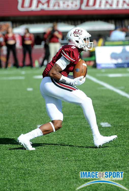 Sep 9, 2017; Amherst, MA, USA; Massachusetts kick return specialist Isiah Rodgers (9) runs upfield during a NCAA football game at McGuirk Alimni Stadium. The Old Dominion Monarchs defeated the University of Massachusetts Minutemen 17-7. Photo by Reuben Canales